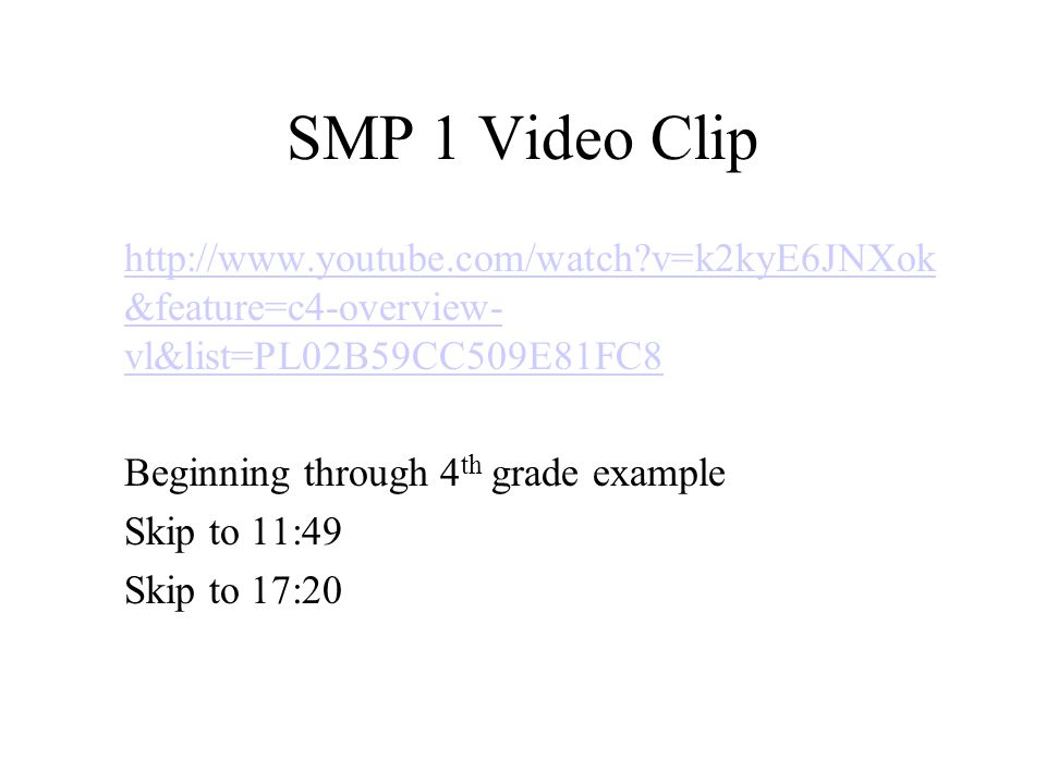 SMP 1 Video Clip