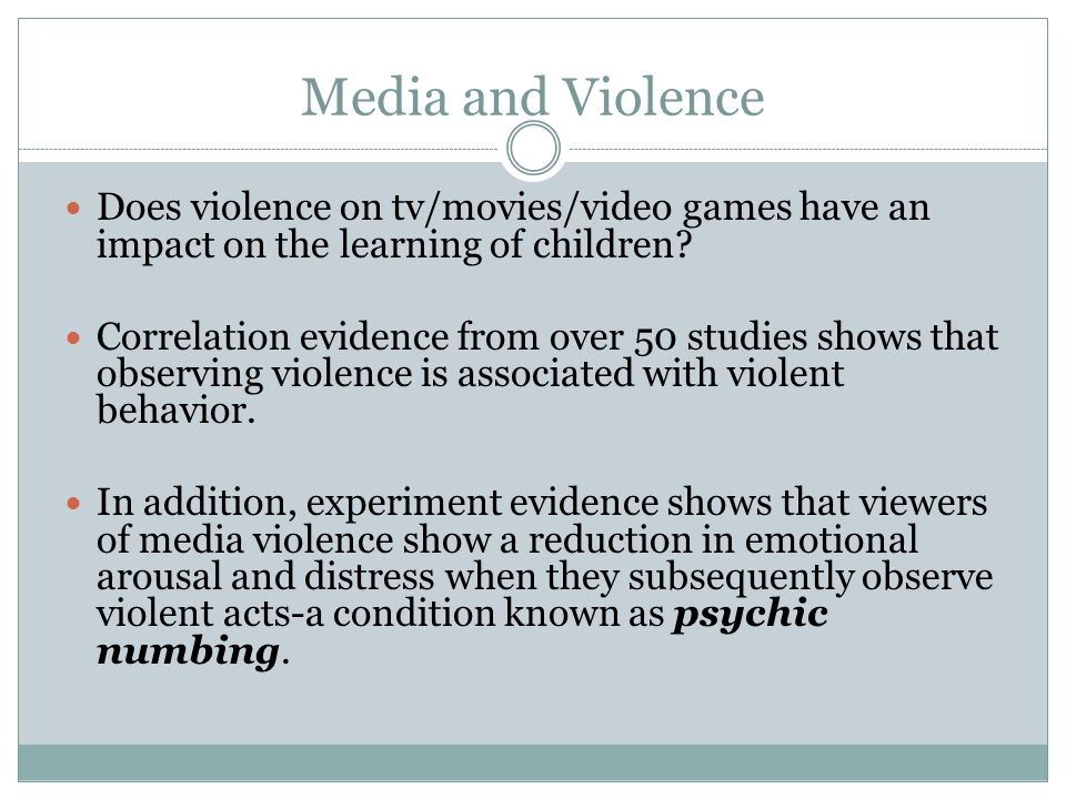 a correlation between violence in media and aggressive behavior in children I believe that there exists a relationship between exposure to media violence and aggressive behavior, even if sometimes it's very small i can say this from my observations as well aggressive behaviors are caused by multiple factors, as many researchers say however, media violence is one of those factors.