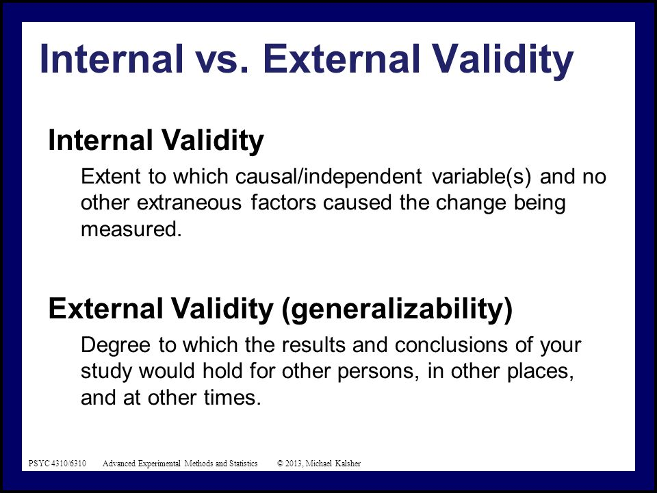 Threats to Internal & External Validity