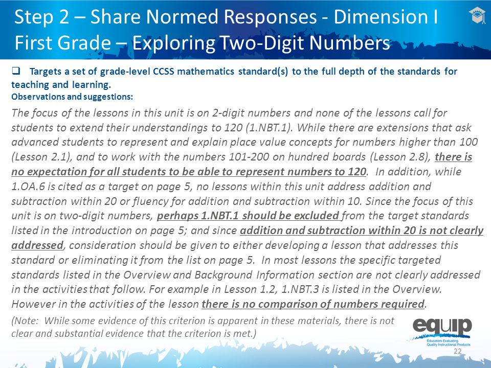 Step 2 – Share Normed Responses - Dimension I First Grade – Exploring Two-Digit Numbers