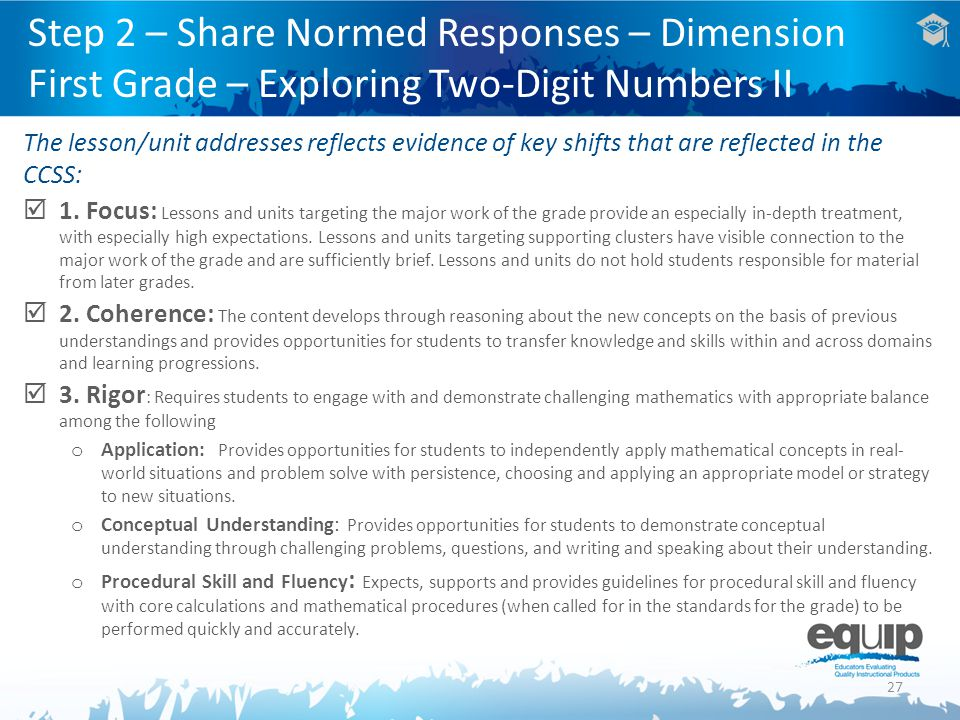 Step 2 – Share Normed Responses – Dimension First Grade – Exploring Two-Digit Numbers II