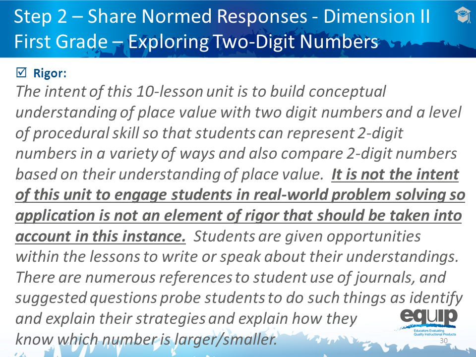 Step 2 – Share Normed Responses - Dimension II First Grade – Exploring Two-Digit Numbers