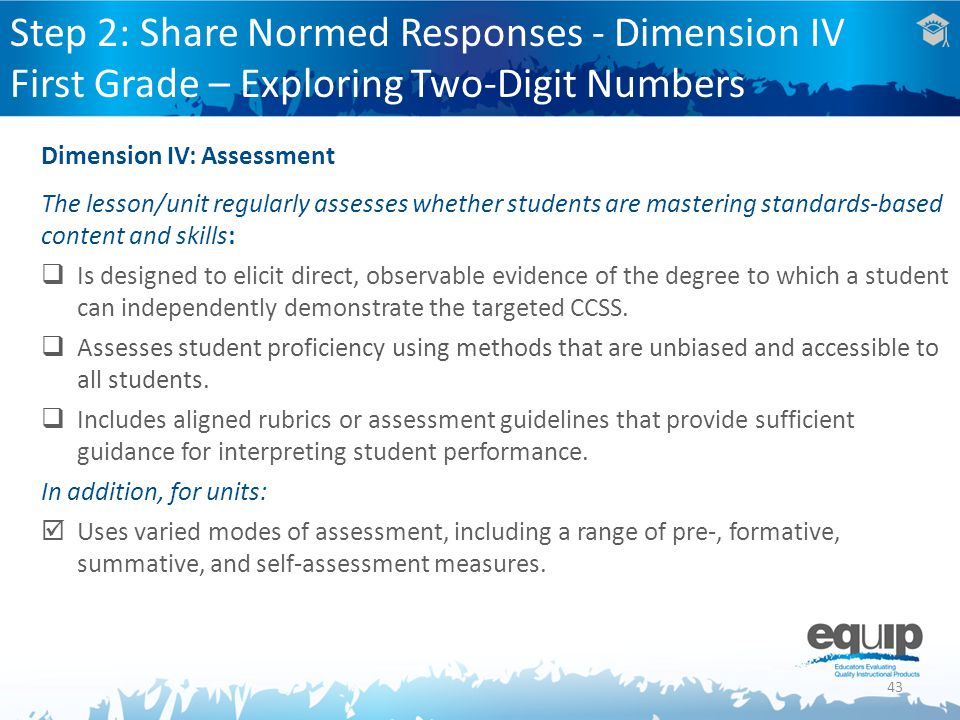 Step 2: Share Normed Responses - Dimension IV First Grade – Exploring Two-Digit Numbers