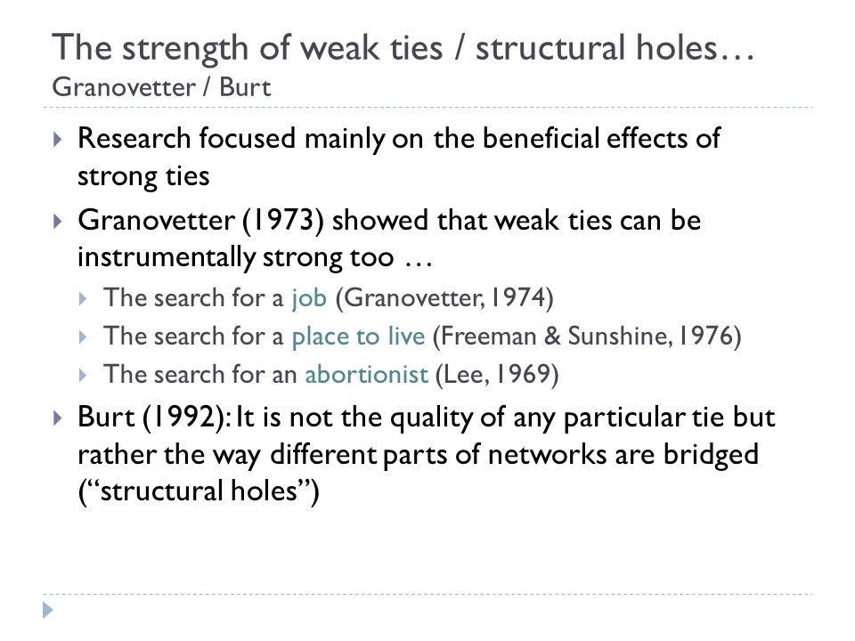 the strength of weak ties Interpersonal ties, generally, come in three varieties: strong, weak or absent weak social ties, it is argued, are responsible for the majority of the embeddedness and structure of social networks in society as well as the transmission of.