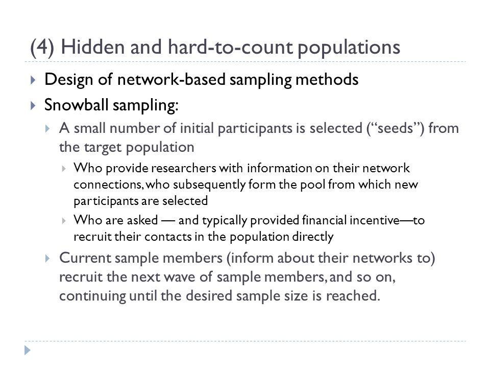 snowball sampling dissertation Purposive and snowball sampling was used to select participants based on their years as dean the sample included deans that are registered nurses, have the title of dean, have not been in a dean role previously, and have been appointed in their first dean position three years or less.