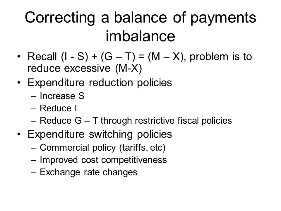 Policies to reduce a current account deficit