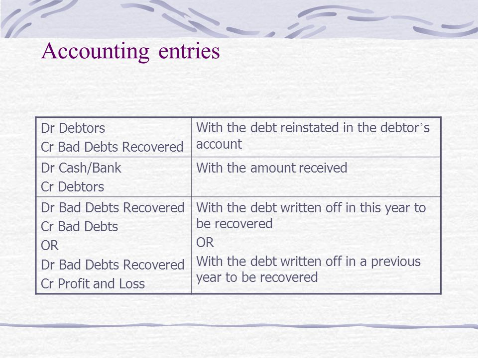 Accounting Entry For Provision For Bad Debts