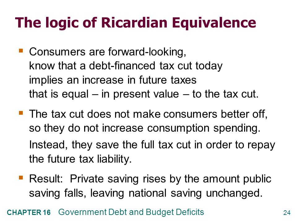 to understand the ricardian equivalence view The question of interest then is to understand what is the optimal strategy in terms of when  ricardian equivalence, tax smoothing, and debt management.