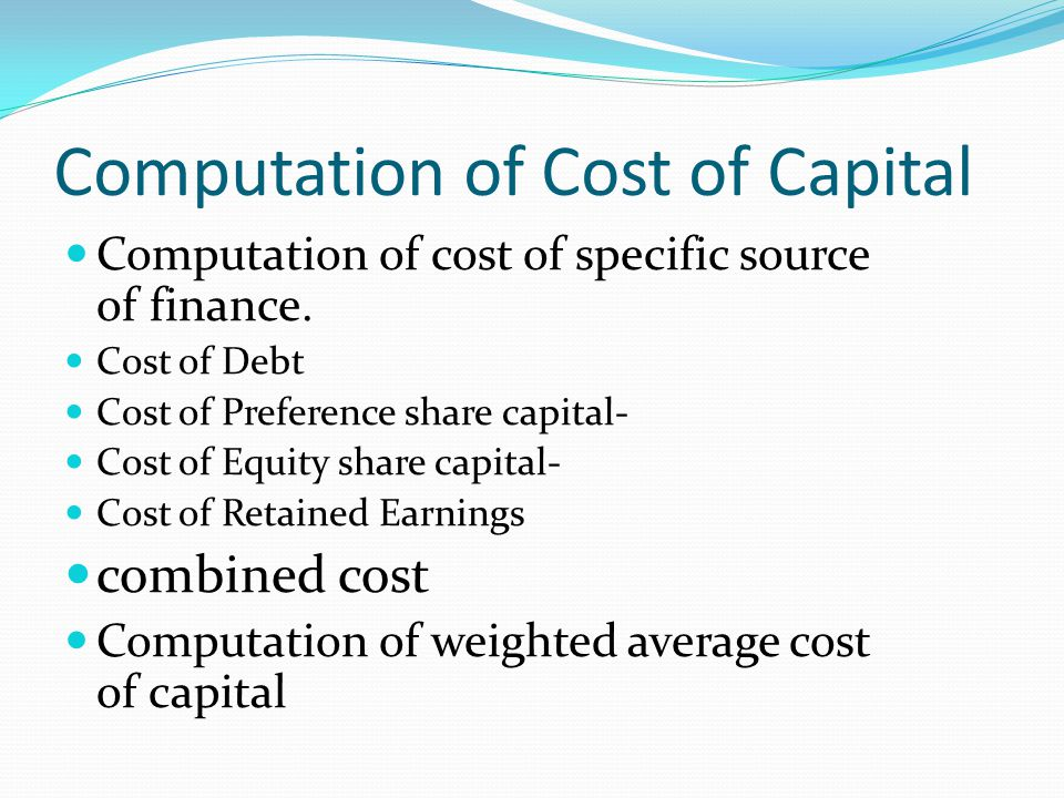 "equity capital free of cost ""the cost of capital is simply the return expected by those who  cost of equity =  risk-free interest rate + beta (market rate – risk-free rate."