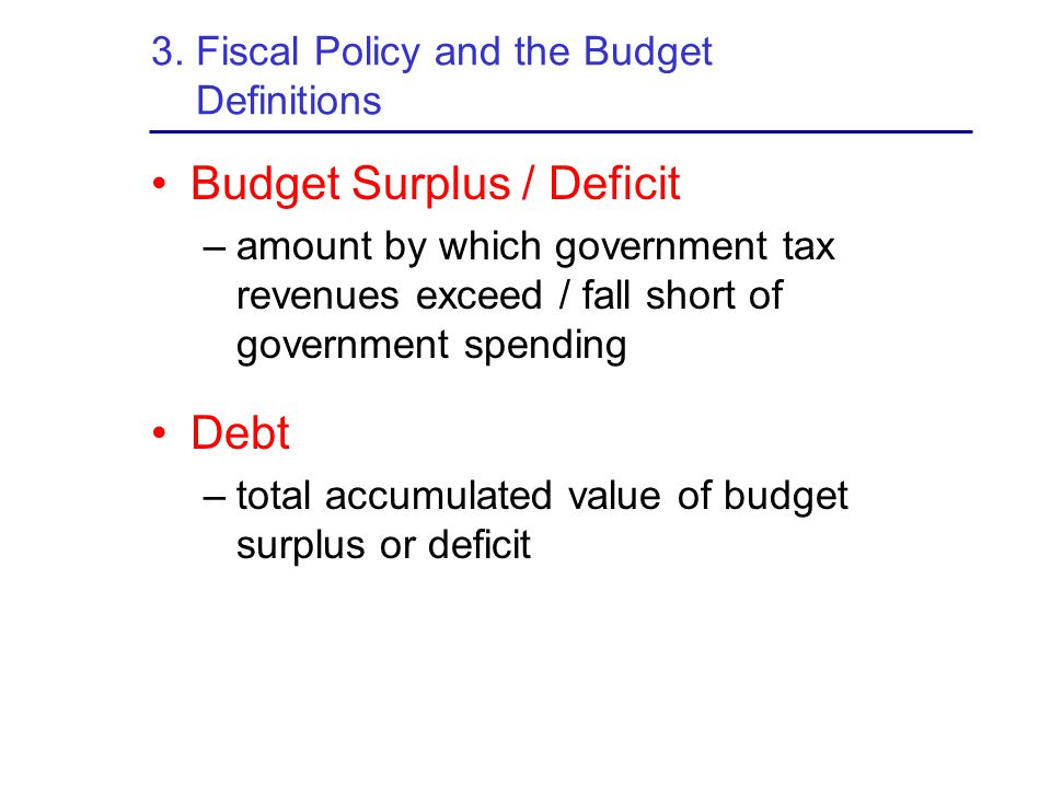 3. Fiscal Policy and the Budget Definitions
