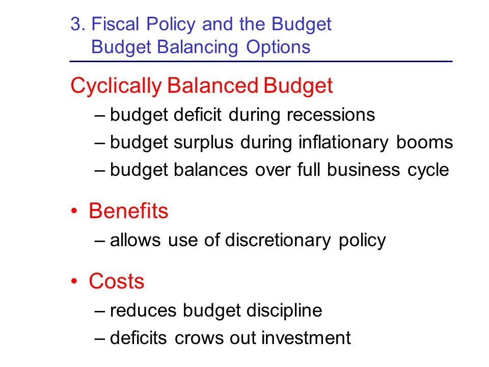 3. Fiscal Policy and the Budget Budget Balancing Options