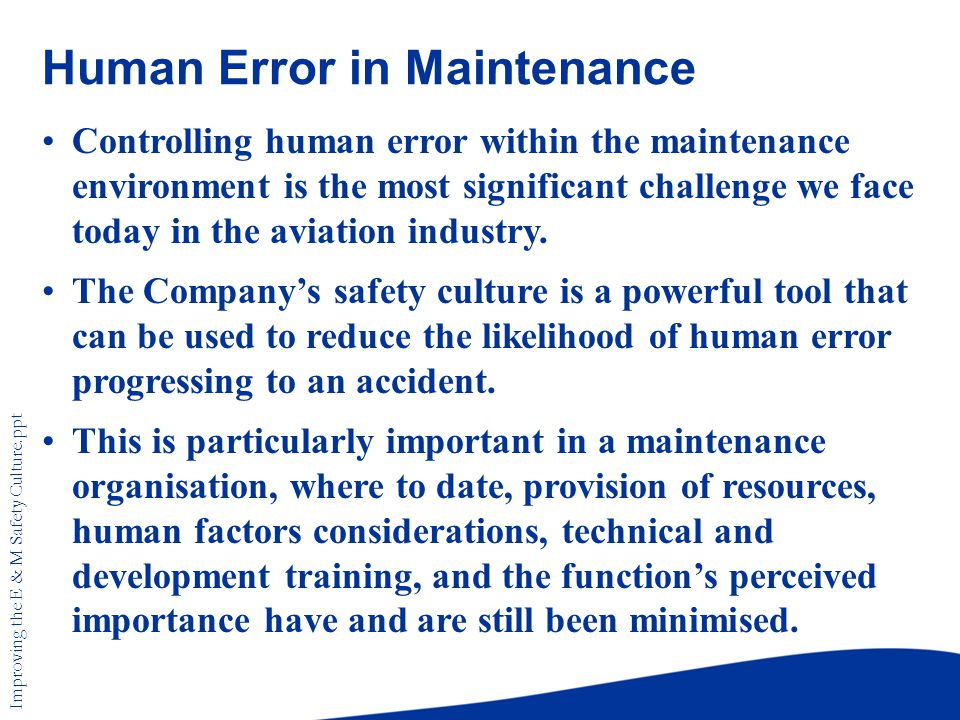human error in aviation It is now thought that about 70-80% of all aviation accidents are caused by  human (or pilot) error alone in fact, 'human error' is so inevitable.