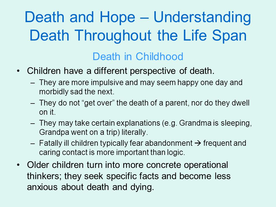 understanding death early in life Our tradition is a way of understanding the  there can not be death if one was to obey god totally, live in  , we on early already image.