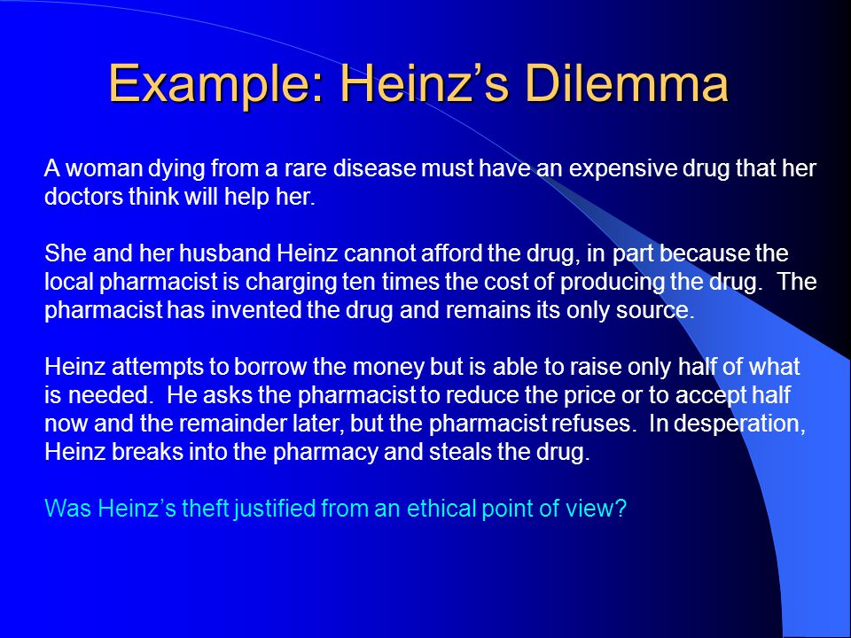 heinz steals the drug View essay - heinz dilemmaodt from hist 319v at maryland heinz dilemma1 a dilemma that psychologist lawrence kohlberg used in his original research was the druggist's dilemma: heinz steals the drug.