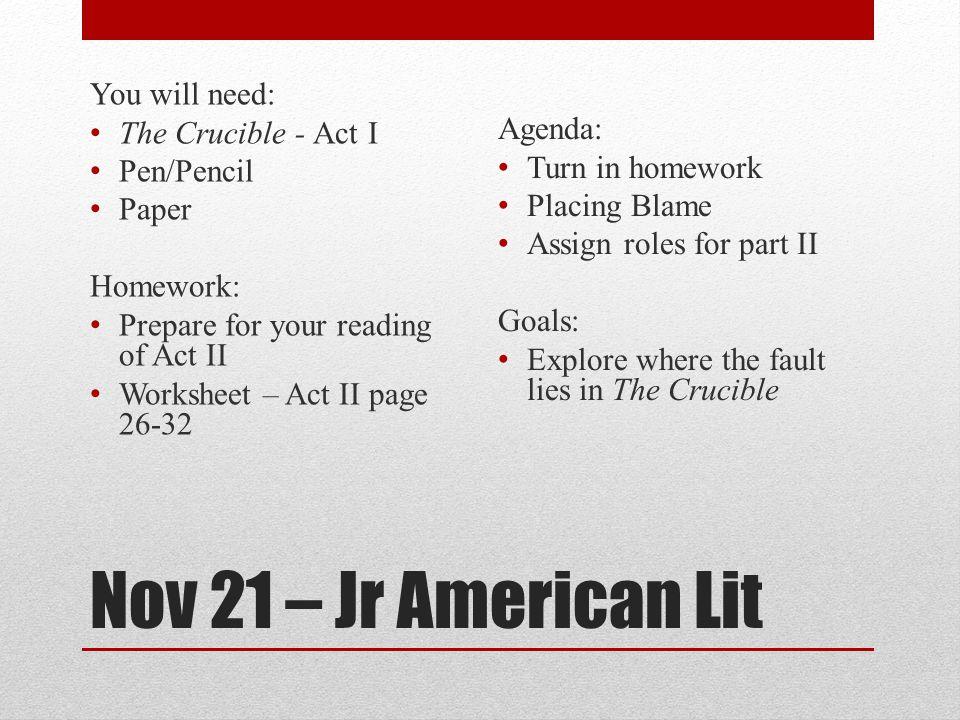 Nov 21 – Jr American Lit You will need: The Crucible - Act I Agenda ...