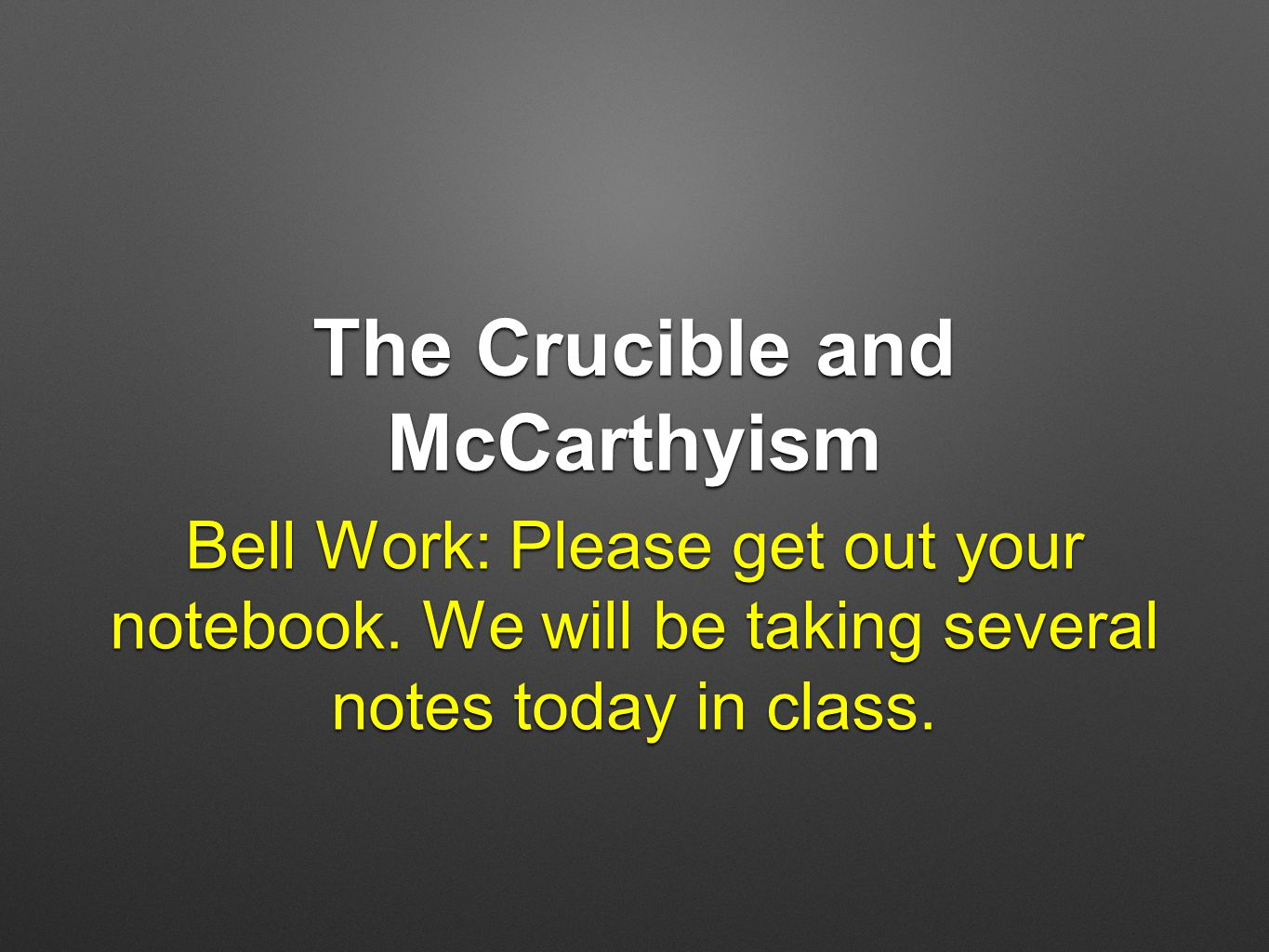 mcarthyism in the crucible