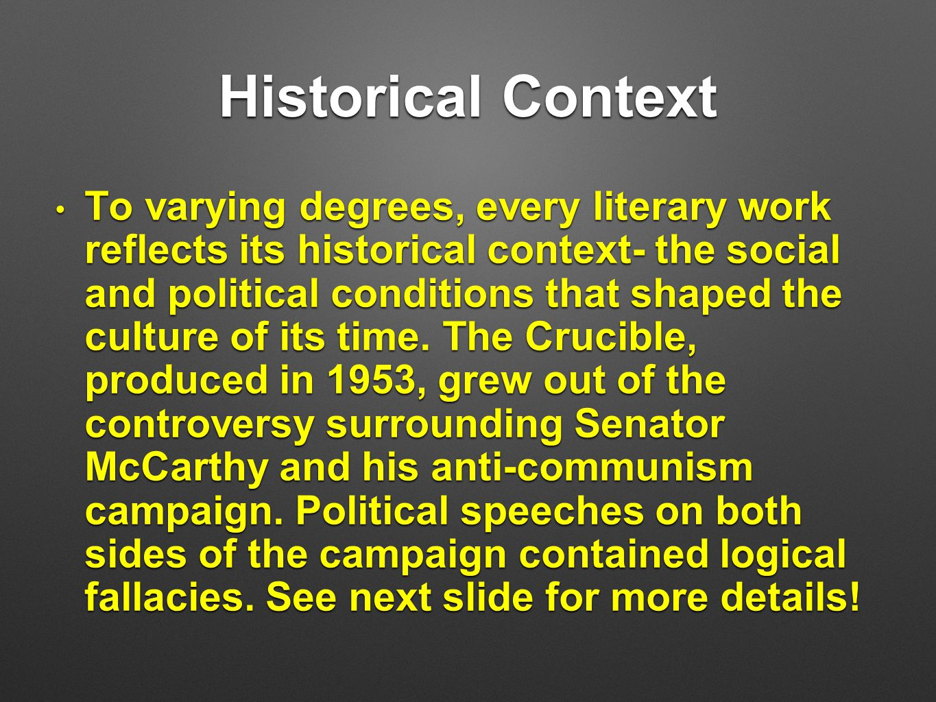 mccarthyism in the crucible 1984