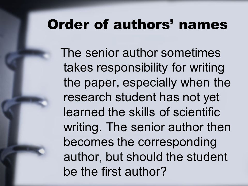 Order author names research paper