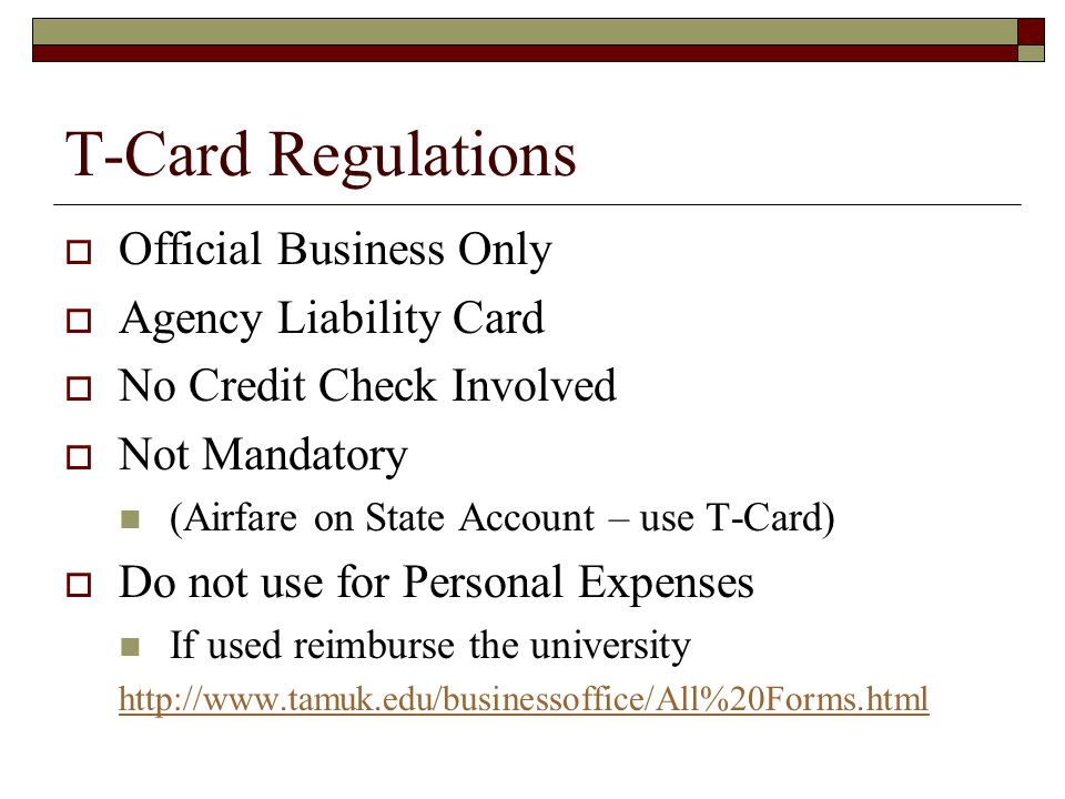 Tamuk travel program ppt video online download for Business credit card no personal credit check