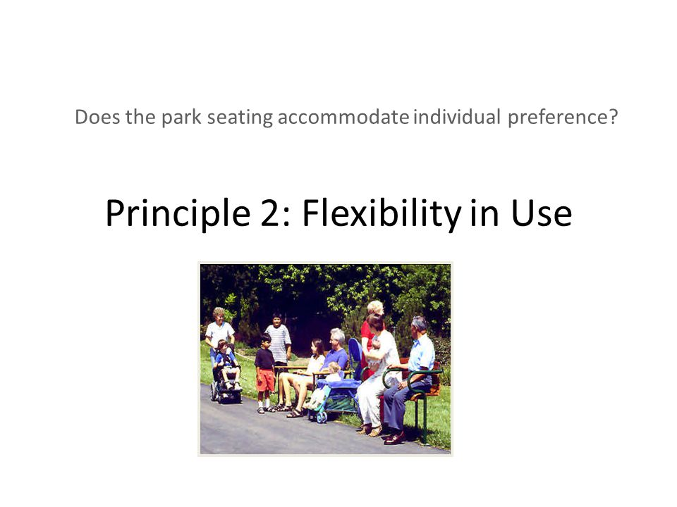 flexibility principle Principle two: flexibility in use the design accommodates a wide range of individual preferences and abilities guidelines provide.