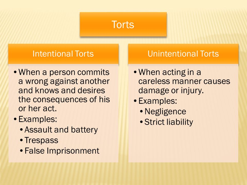 Torts Intentional Torts