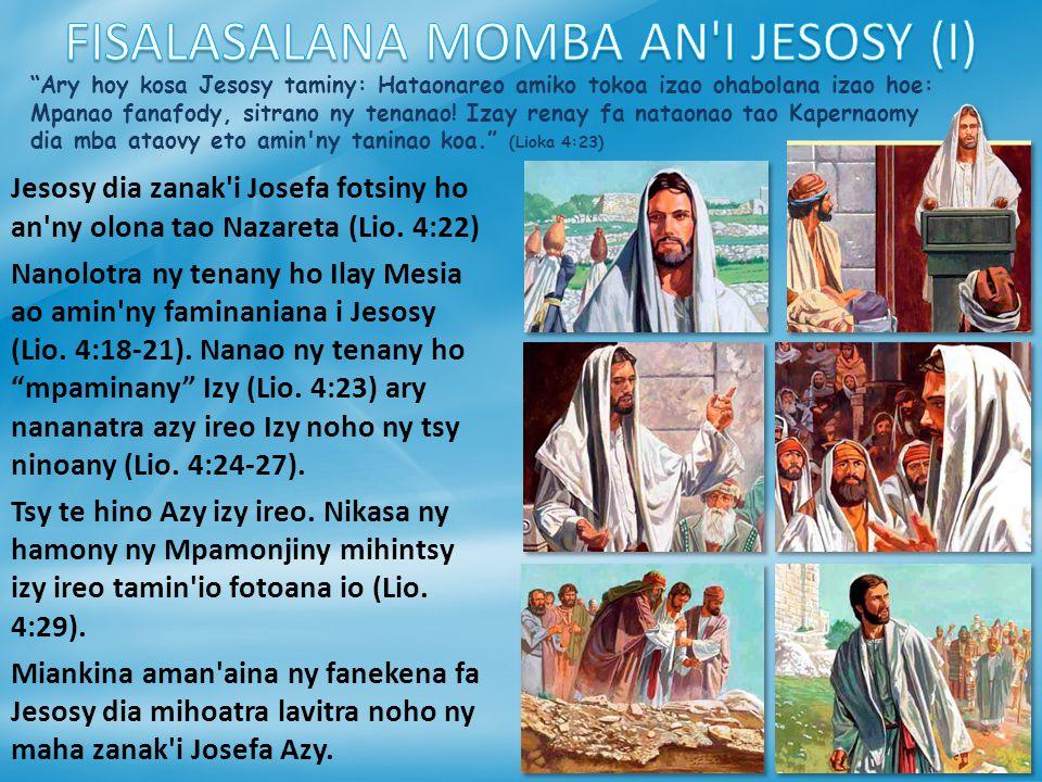 FISALASALANA MOMBA AN I JESOSY (I)