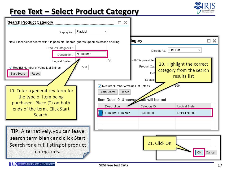 Free Text – Select Product Category