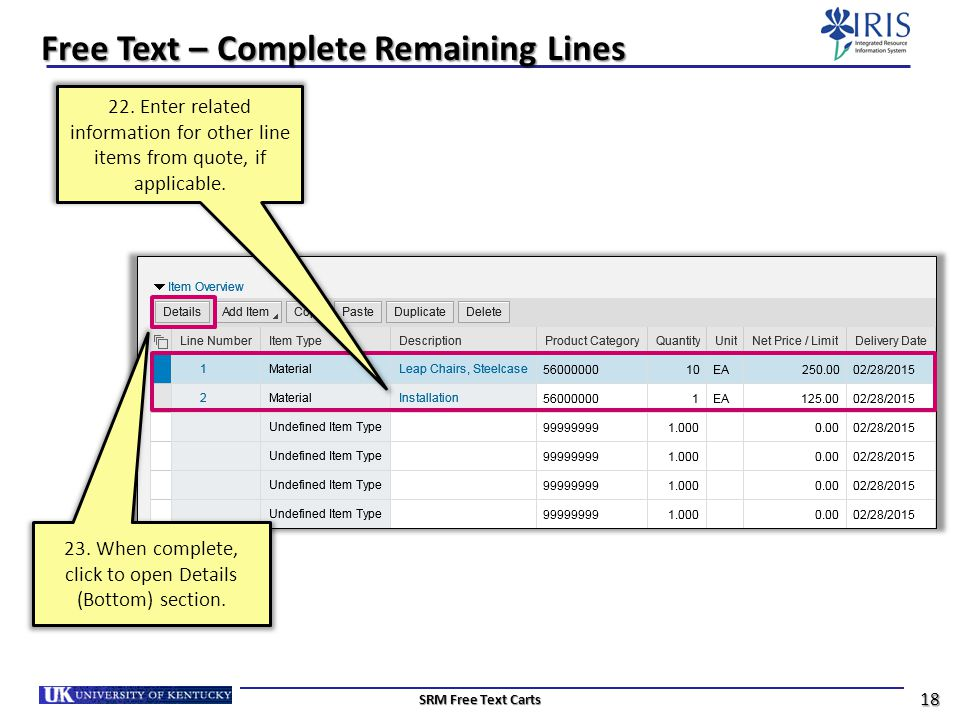 Free Text – Complete Remaining Lines
