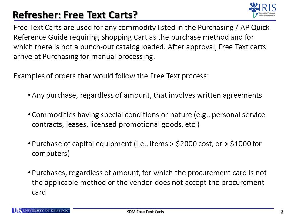Refresher: Free Text Carts