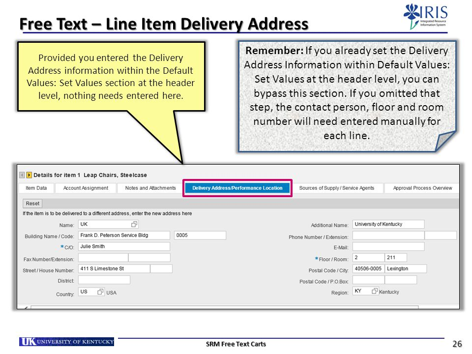 Free Text – Line Item Delivery Address