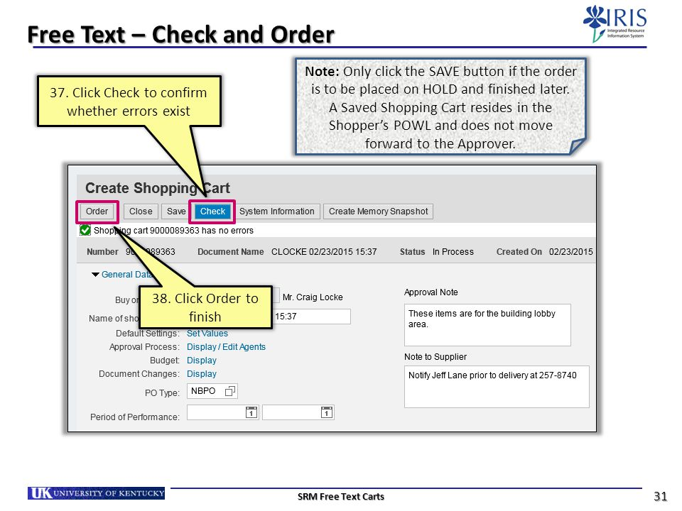 Free Text – Check and Order