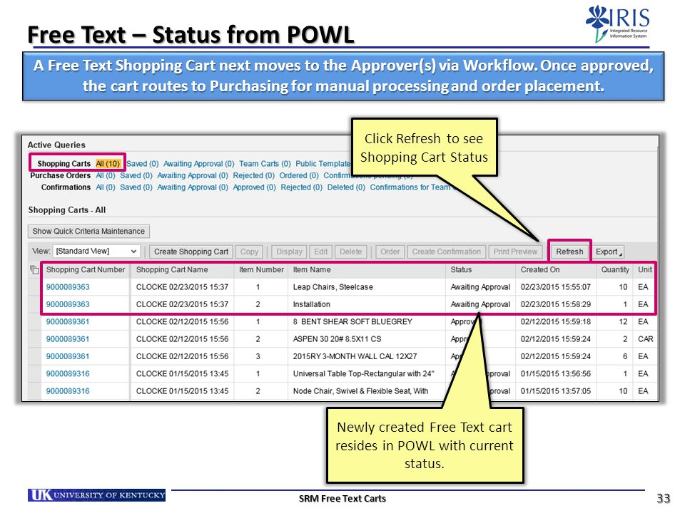 Free Text – Status from POWL