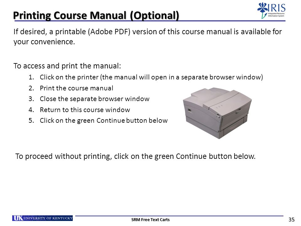 Printing Course Manual (Optional)