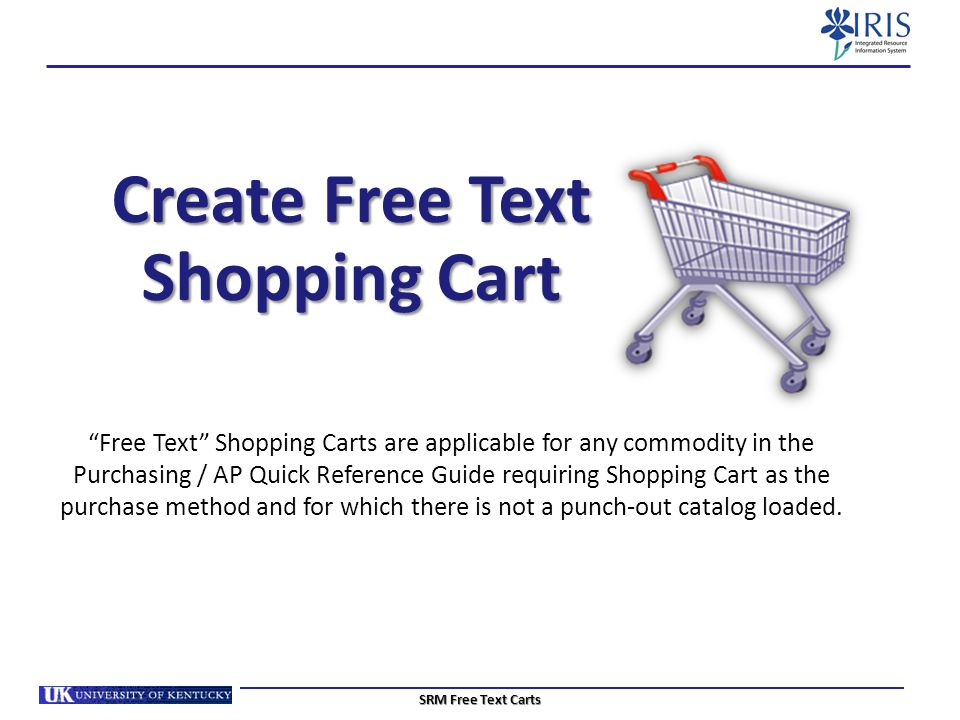 Create Free Text Shopping Cart