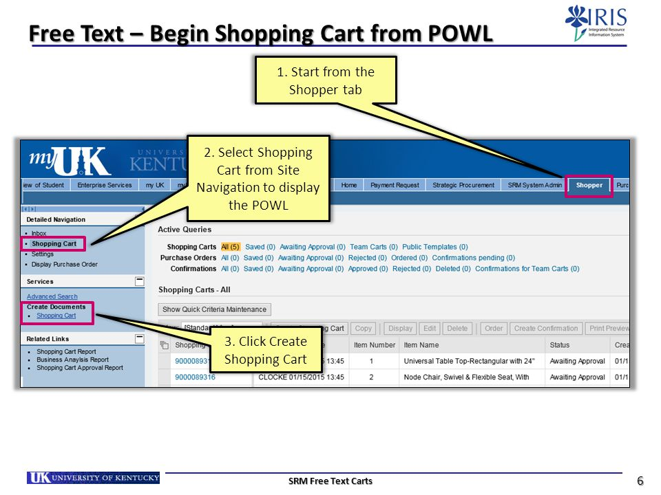 Free Text – Begin Shopping Cart from POWL