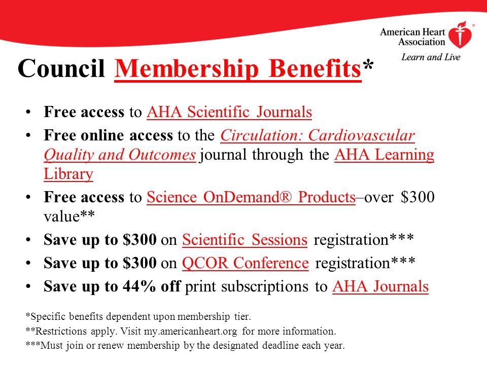 Council Membership Benefits*