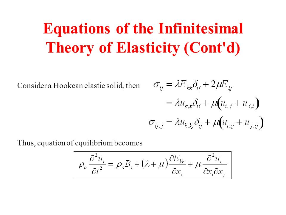 Equations of the Infinitesimal Theory of Elasticity (Cont d)
