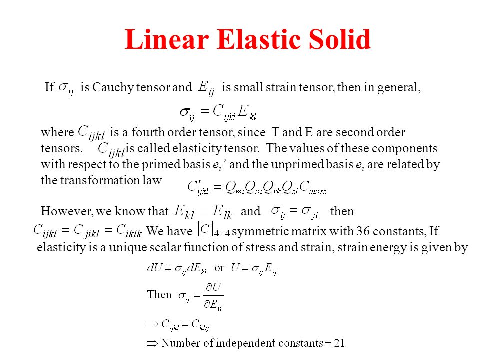 Linear Elastic Solid If is Cauchy tensor and is small strain tensor, then in general,