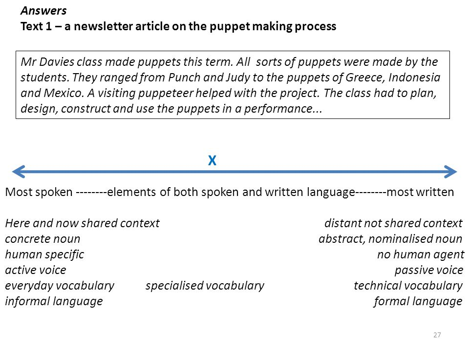 X Answers Text 1 – a newsletter article on the puppet making process