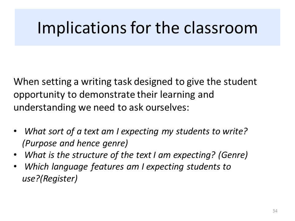 Implications for the classroom