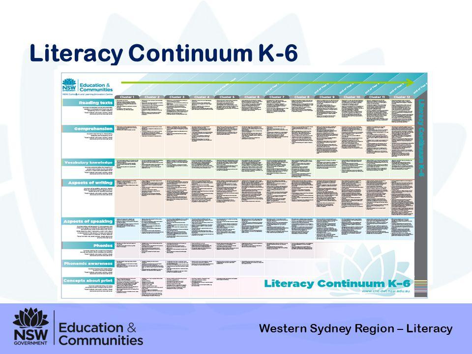 Literacy Continuum K-6 Western Sydney Region – Literacy Background
