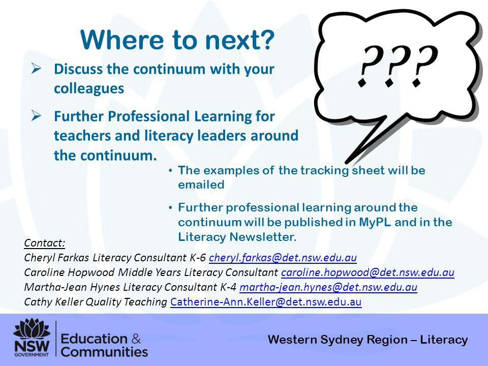 Where to next Discuss the continuum with your colleagues