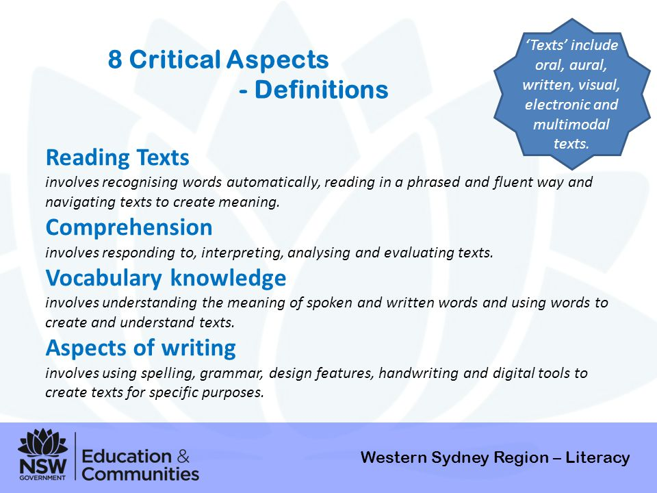 8 Critical Aspects - Definitions Reading Texts Comprehension