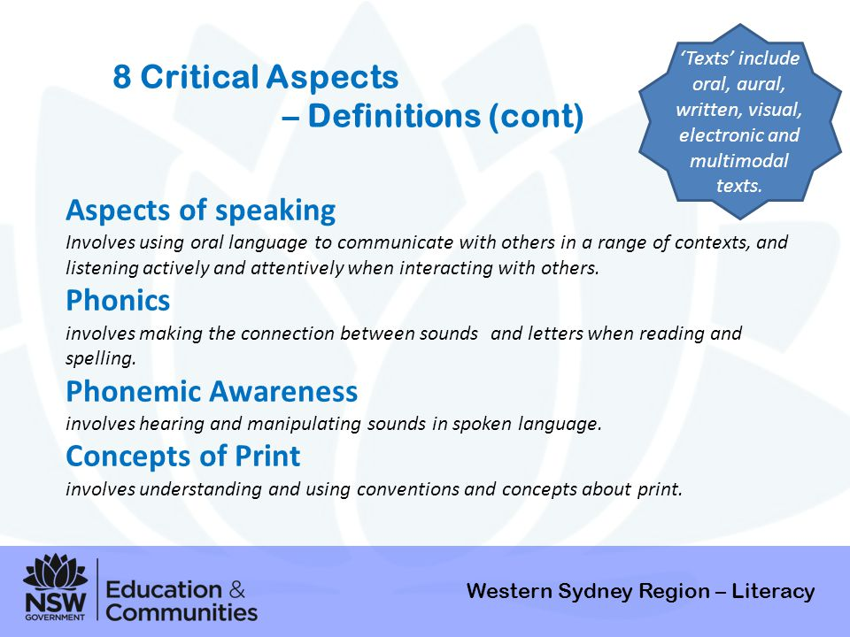 8 Critical Aspects – Definitions (cont) Aspects of speaking Phonics