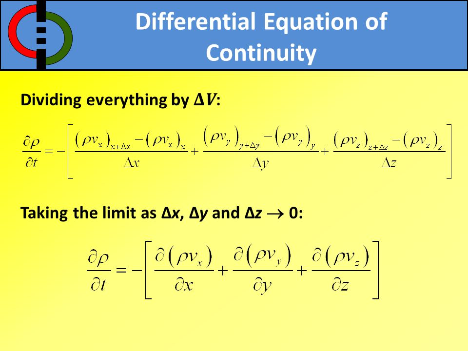 Differential Equation of Continuity