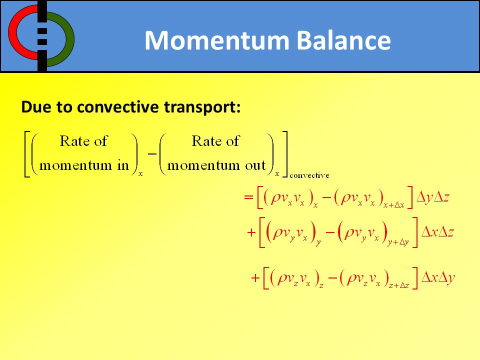 Momentum Balance Due to convective transport: