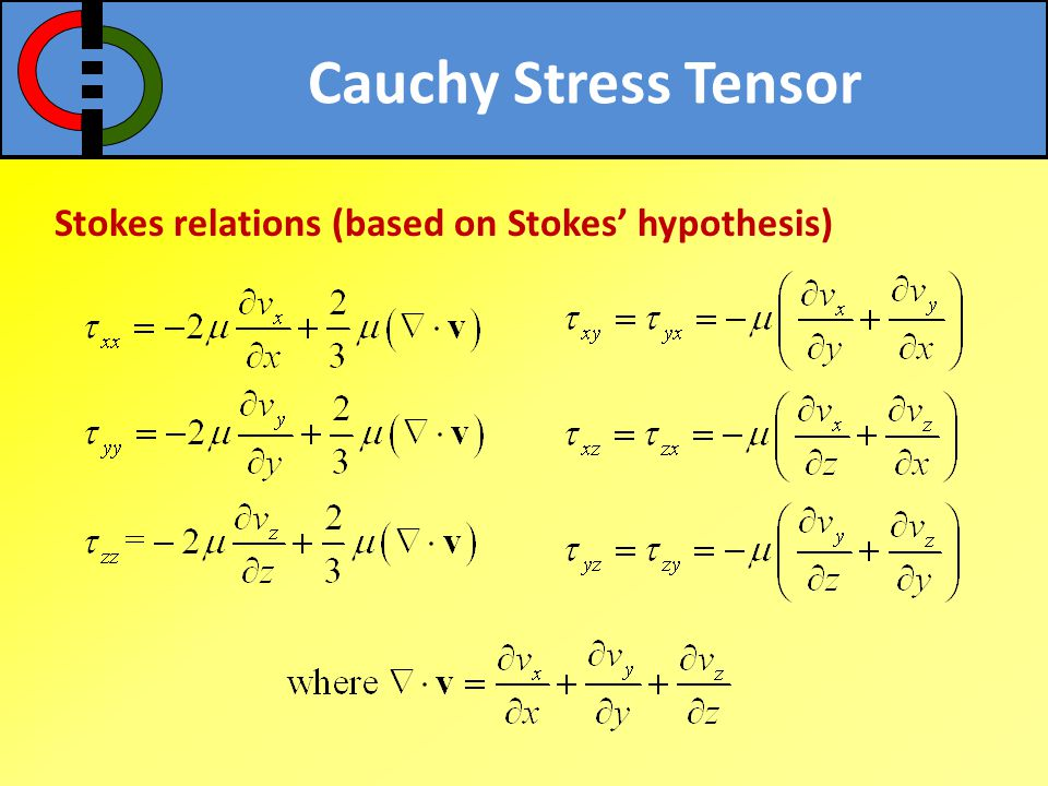 Cauchy Stress Tensor Stokes relations (based on Stokes' hypothesis)