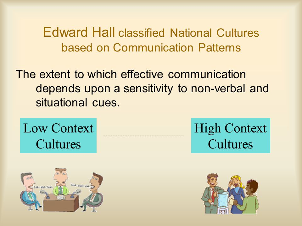 Edward Hall classified National Cultures based on Communication Patterns