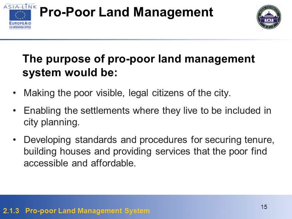 Pro-Poor Land Management
