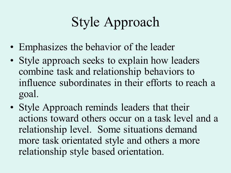 style approach to leadership pdf